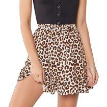Fashion Women Leopard Print Midder Elastic Waist Ruffles Casual Mini Skirt Clothing Female Jupe Femme Womens Summer Skirt
