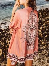 Fashion Floral-Printed Half Sleeve Bohemia Beach Cover-Ups