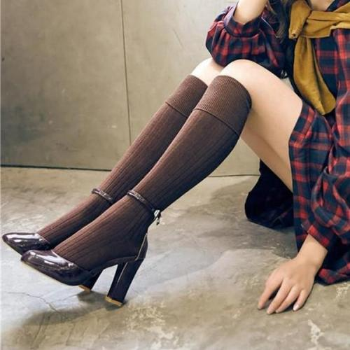Fashion High-Knitted Solid Color Pile Socks