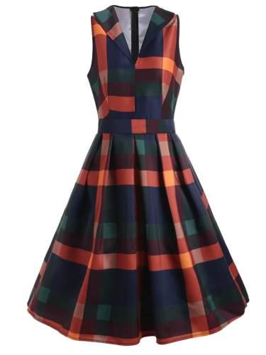 1950s Plaid Sleeveless Party Dress
