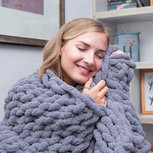 Chunky Knit Throw Chenille Bulky Blanket