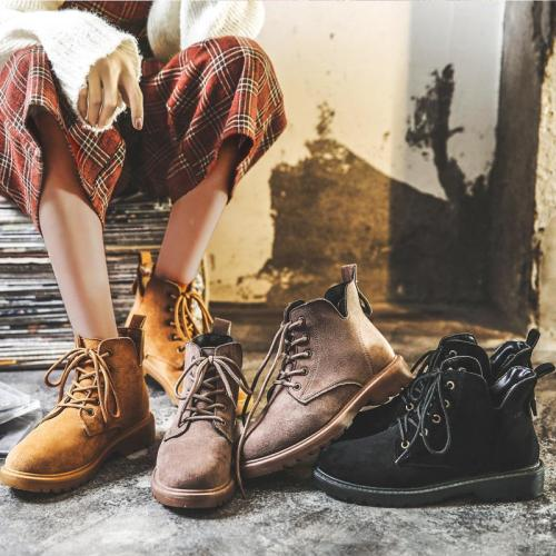 Retro round head lace up women's short boots