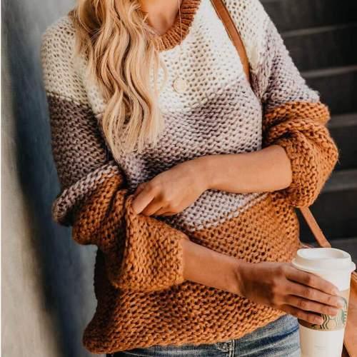 Crewneck Colorblock Mohair Pullover Sweater