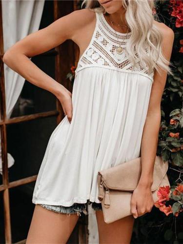 Fashionable Sleeveless Lace Stitched T Shirt