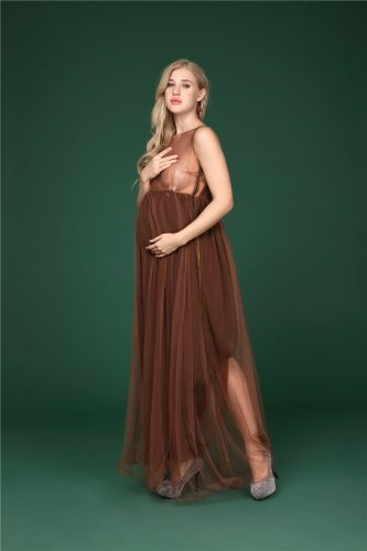 Chiffon Photography Dress Maternity Off Shoulder Maxi Dresses Pregnant Women Evening Dresses Photoshoots Button Summer Gowns