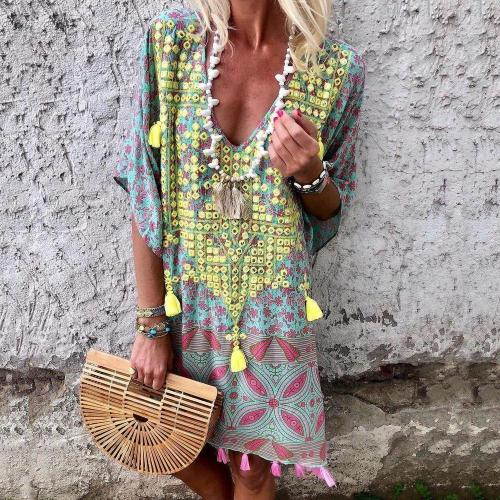 Floral Tassel Printed Casual Above Knee Shift Dress