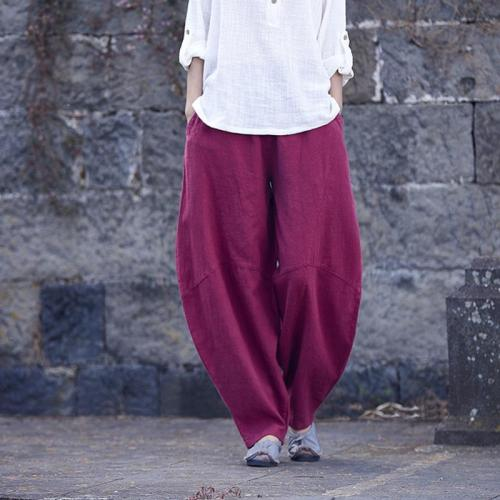 Wide Leg Linen Harem Pants