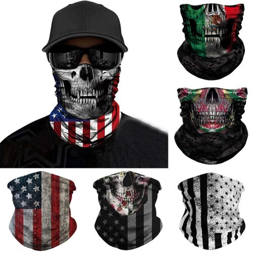 Independence day Skull Seamless Balaclava Magic Scarf Heaewear Outdoor Sports Bandanas Men Cycling Hiking Mask Neck Gaiter June1