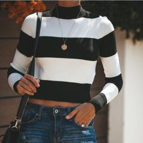 Casual Printed Colour Splicing Long Sleeve Short Knitwear