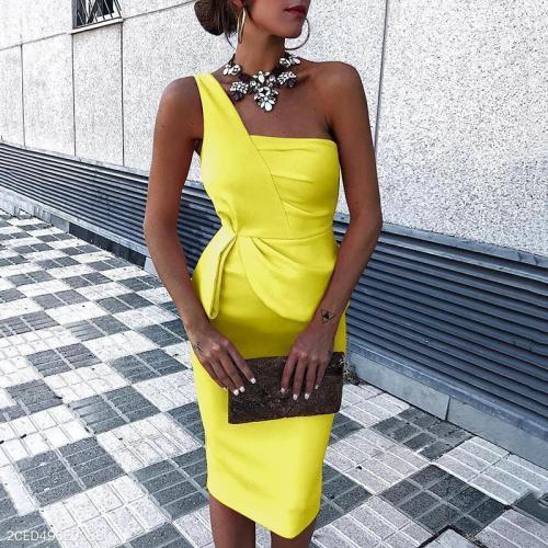 Fashion Plain Sleeveless Bodycon Dress Mini   Dress