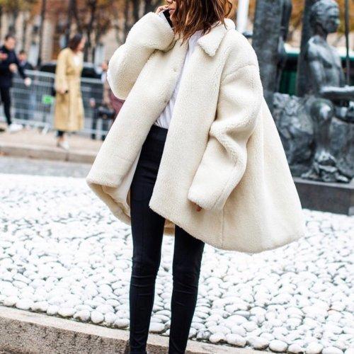Fashion Pure Colour Irregular Lamb Cashmere Coat