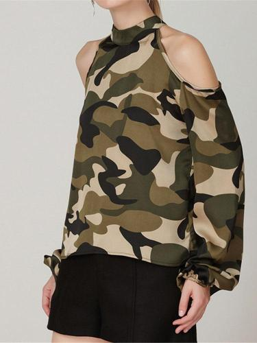 Fashion Camouflage Sexy Shoulder Shirt