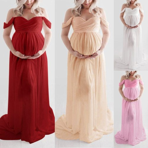 Robe Dress Summer Plus Size Maternity Women's Dress Women Off Shoulder Pregnants Sexy Photography Ruffled Nursing Long Dress