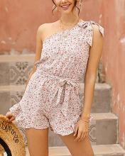 Sweet One Shoulder Floral Print Vacation Jumpsuit