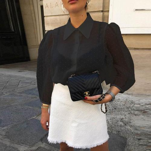 Explosion Models Sexy Perspective Lanterns Sleeves Collar Collar Shirt