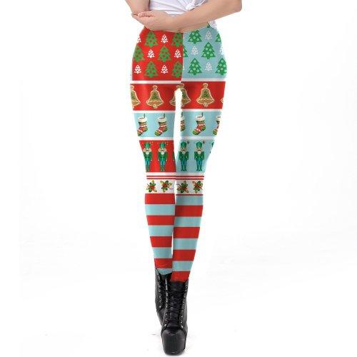Festival Print Women Mid Waist Christmas Skinny Leggings