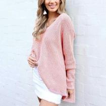Casual Sexy Pure Color   V-Neck Casual Long-Sleeved Knit Top Sweatshirts