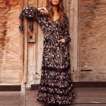 Bohemian V-neck Black Printed Ruffled Dress