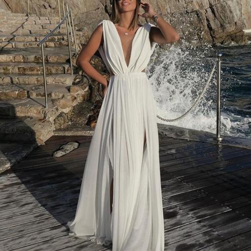 Stylish Deep V Sleeveless Slim Chiffon Dress