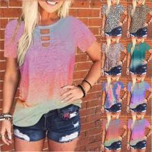 Women Gradient Tie Dye Printed Loose Short Sleeve T-shirt