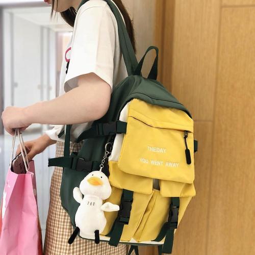 Women Nylon Embroidery Backpack Cute Student College Harajuku School Bag Girl Kawaii Backpack Fashion Book Ladies Bag Trendy New