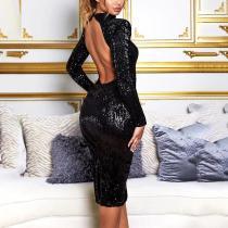 Individuality Bare Back Split Paillette Midi Dress