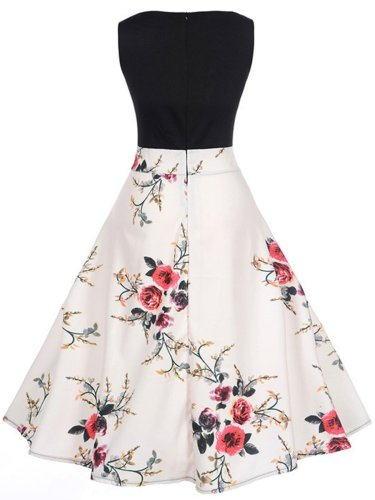 Floral Printed Sleeveless Round Neck Skater Dress