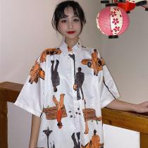 Summer Blouse Vintage Printed Short Sleeve Casual Hawaiian Beach Female Shirts Top