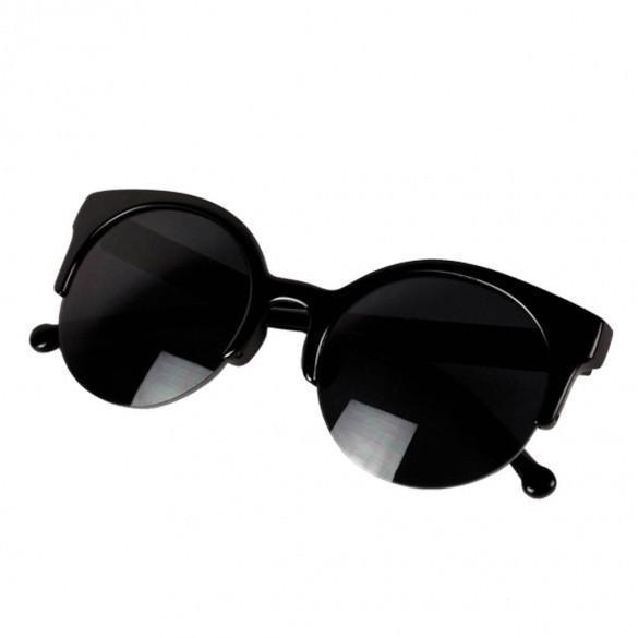 Fashion Unisex Retro Designer Super Round Circle Cat Eye Semi-Rimless Sunglasses Glasses Goggles