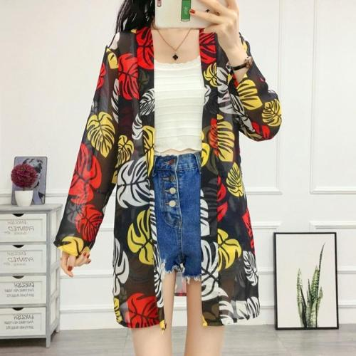Women Chiffon Shirts Seaside Beach Wear Thin Coat Outer Shawl Coat Long Cardigan Blouses Print Shirt
