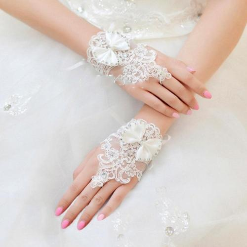 White Fingerless Bridal Gloves Ivory Short Wedding Gloves for Bride Crystals Beaded Bowknot Lace Glove Wedding Accessories VL