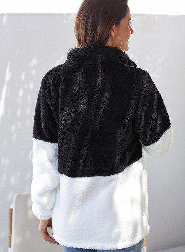 White Zip Neck Oversize Fluffy Fleece Pullover