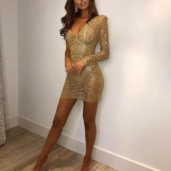 Sexy Fashion V-Neck Perspective Bodycon Dress