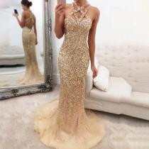 Elegant Sexy Sleeveless Side Slit Paillette Evening Dress