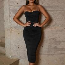 Female European And American Sexy Low-Cut Belt V-Collar Dress