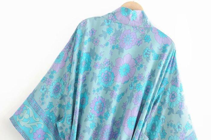 Boho Robe, Kimono Robe, Floral in Cerulean
