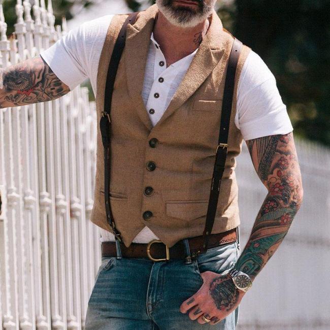 Men's Pocket Single Row Button Vest