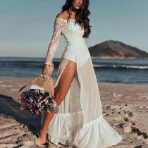 Women's Fashion Hollow Out Deep V Neck Lace Dress