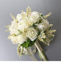 2020 New Arrival Bridal Bouquets Women Wedding Artificial Flower Bouquet Off White 20*20 Cm Handmade Flowers for Bridesmaid