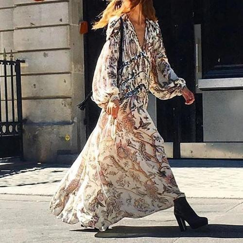 Nalabay Women's Print V-Neck Long Sleeve Casual Maxi Vacation Dress