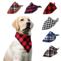 Pet Accessories Dog Bandana Large Pet bandana Cotton Plaid Scarf for Pet Dog & Cat Adjustable Dog Bibs Scarf Handkerchief
