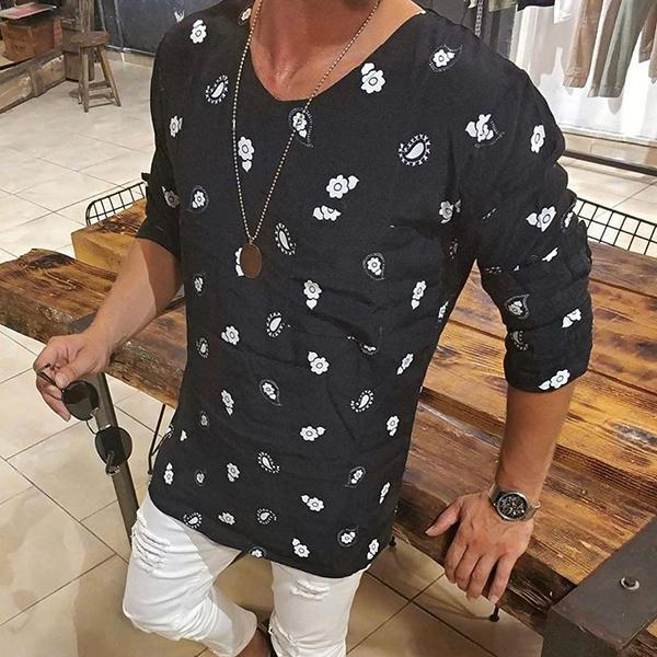 Casual Men's Round Collar Long-Sleeved Printed Shirt