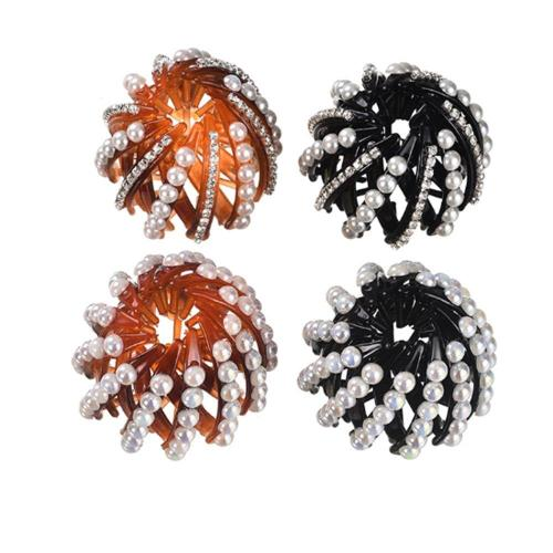 Fashion Crystal Bird's Nest Hair Clips Headwear Woman Hair Ponytail Holder 1PC Curler Roller Headwear Hair Device Girls 4 Colors