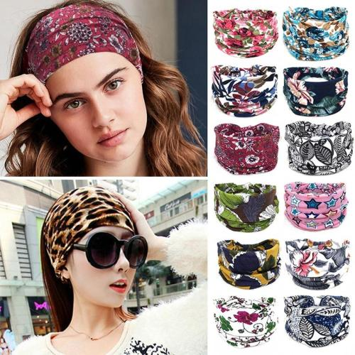 New Boho Wide Cotton Stretch Headband Turban Sports Yoga Knotted Hairband Headwrap Leopard Floral Printed Women Hair Accessories