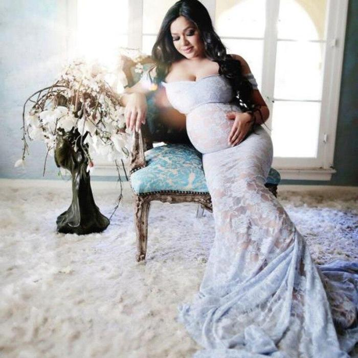 Lace Maternity Dress For Photo Shoot Long Maxi Sexy Maternity Gown Clothes For Pregnant Women Pregnancy Dress Photography Props