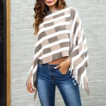 Casual Contrast Color Striped Cappa With Tassel
