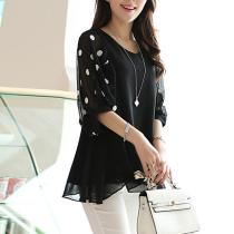 V-Neck  Hollow Out Polka Dot Chiffon Short Sleeve Blouses