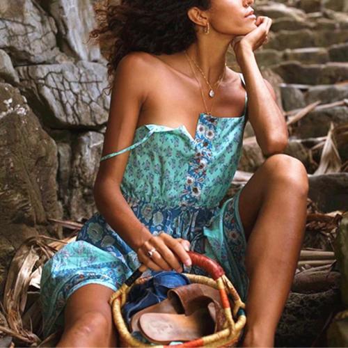 Bohemian Sleeveless Bare Back Off-Shoulder Printed Colour Dress