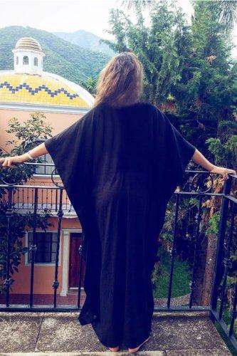 Maxi Boho Dress, Beach Dress, Embroidered Dress, Tribal Black