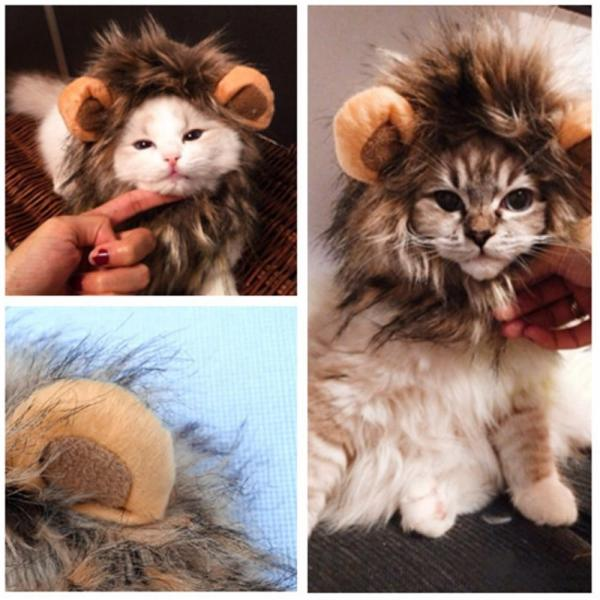 Cute Pet Costume Cosplay Lion Mane Wig Cap Hat for Cat Halloween Christmas Clothes Fancy Dress with Ears cat Clothes